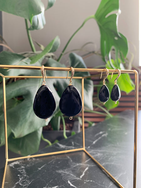 MONT SMALL BLACK EARRINGS WITH SEMI PRECIOUS STONES & 24K GOLD PLATED BRASS HOOKS