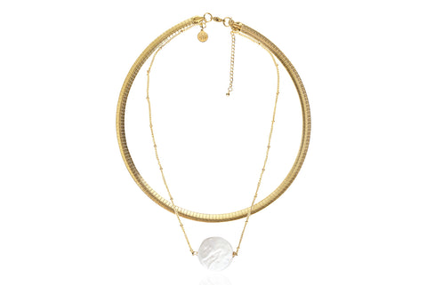 LUNA NECKLACE WITH FRESHWATER PEARL & STAINLESS STEEL