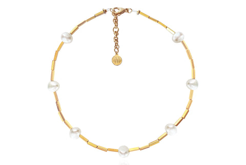 OPAL WHITE NECKLACE WITH FRESHWATER PEARLS & SEMI PRECIOUS STONES