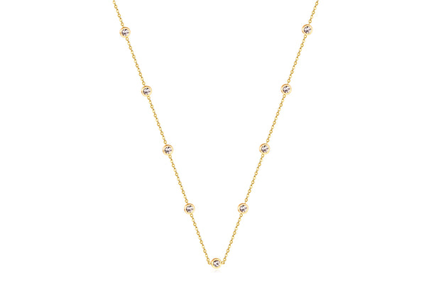 CUBIC CLEAR NECKLACE WITH CUBIC ZIRCONIA & STAINLESS STEEL