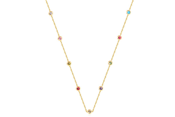 CUBIC RAINBOW NECKLACE WITH CUBIC ZIRCONIA & STAINLESS STEEL