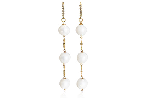 ALAIA LONG EARRINGS WITH FRESHWATER PEARLS & SILVER 925 - CUBIC ZIRCONIA HOOKS