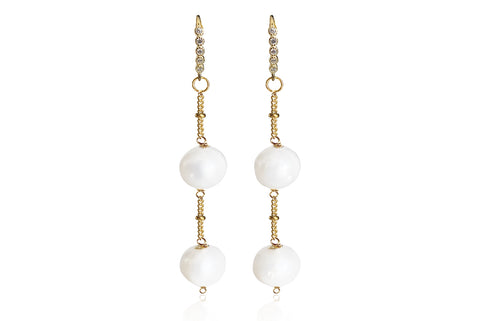 ALAIA MEDIUM EARRINGS WITH FRESHWATER PEARLS & SILVER 925 - CUBIC ZIRCONIA HOOKS