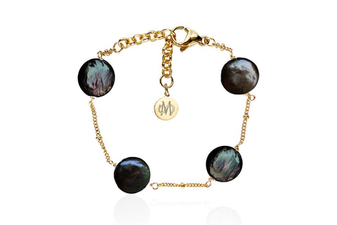 AELIA GOLD - BLACK BRACELET WITH FRESHWATER PEARLS & SEMI PRECIOUS STONES