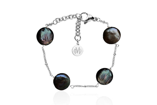 AELIA SILVER - BLACK BRACELET WITH FRESHWATER PEARLS & STAINLESS STEEL