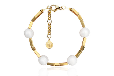 ALAIA BRACELET WITH FRESHWATER PEARLS & SEMI PRECIOUS STONES