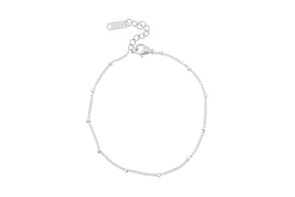 BALL CHAIN SILVER BRACELET WITH STAINLESS STEEL METAL