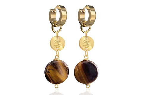 CHLOE MEDIUM  BROWN EARRINGS WITH SEMI PRECIOUS STONES & STAINLESS STEEL HOOPS