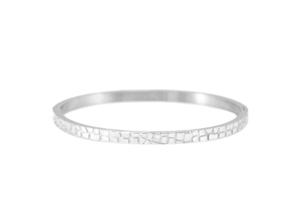 BANGLE CROCO SILVER BRACELET 4MM