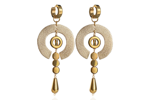 ERNA GOLD EARRINGS WITH SEMI PRECIOUS STONES & STAINLESS STEEL HOOPS