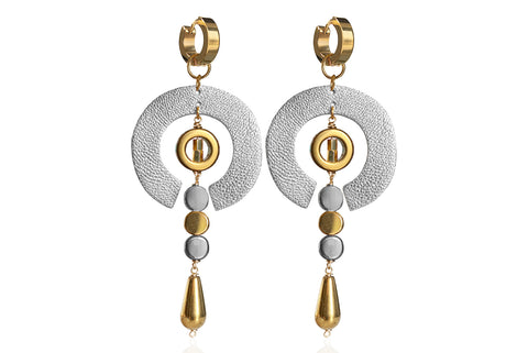 ERNA GOLD - SILVER EARRINGS WITH SEMI PRECIOUS STONES & STAINLESS STEEL HOOPS