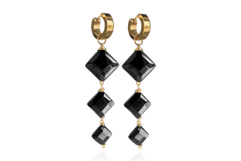 CARA GOLD EARRINGS WITH SEMI PRECIOUS STONES & STAINLESS STEEL HOOPS