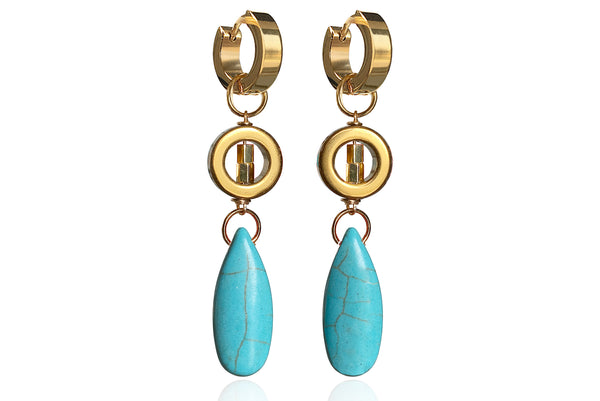 FLORENTIA TURQUOISE EARRINGS WITH SEMI PRECIOUS STONES & STAINLESS STEEL HOOPS