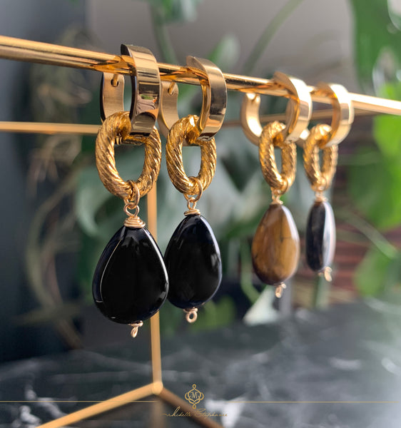 MARRONE BLACK EARRINGS WITH SEMI PRECIOUS STONES & STAINLESS STEEL HOOPS