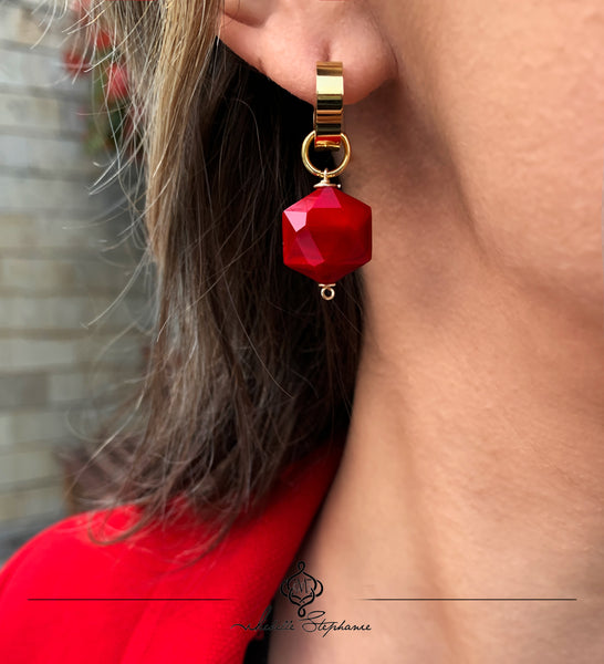 ZANIA RED SINGLE STONE EARRINGS WITH SEMI PRECIOUS STONES & STAINLESS STEEL HOOPS
