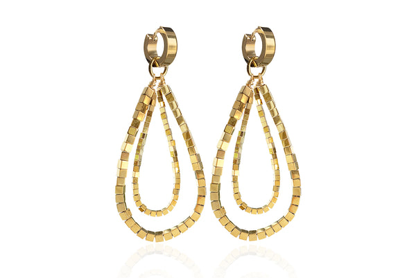 GIZIL GOLD EARRINGS WITH SEMI PRECIOUS STONES & STAINLESS STEEL HOOPS