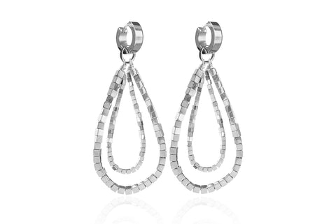 GIZIL SILVER EARRINGS WITH SEMI PRECIOUS STONES & STAINLESS STEEL HOOPS