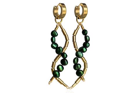 IDIS DARK GREEN EARRINGS WITH FRESHWATER PEARLS & STAINLESS STEEL HOOPS
