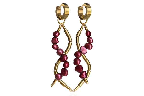 IDIS WINE RED EARRINGS WITH FRESHWATER PEARLS & STAINLESS STEEL HOOPS