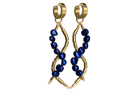 IDIS ROYAL BLUE  EARRINGS WITH FRESHWATER PEARLS & STAINLESS STEEL HOOPS