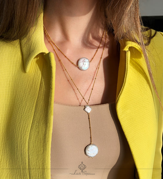 LUNA LONG NECKLACE WITH FRESHWATER PEARLS & STAINLESS STEEL