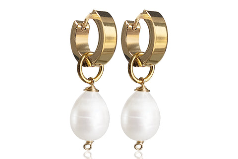 LORA SINGLE PEARL EARRINGS WITH FRESHWATER PEARLS & STAINLESS STEEL HOOPS