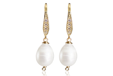 LORA SINGLE PEARL EARRINGS WITH FRESHWATER PEARLS & SILVER 925 - CUBIC ZIRCONIA HOOKS