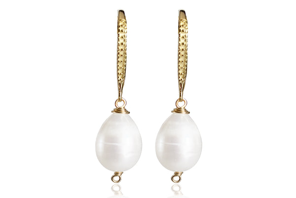 LORA SINGLE PEARL EARRINGS WITH FRESHWATER PEARLS & SILVER 925 HOOKS