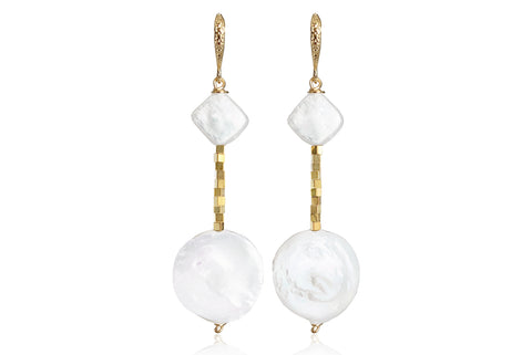 LUNA MEDIUM EARRINGS WITH FRESHWATER PEARLS & 24K GOLD PLATED BRASS HOOKS
