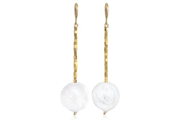 LUNA LONG EARRINGS WITH FRESHWATER PEARLS & 24K GOLD PLATED BRASS HOOKS