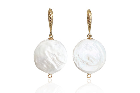 LUNA SINGLE PEARL EARRINGS WITH FRESHWATER PEARLS & 24K GOLD PLATED BRASS HOOKS