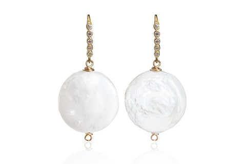 LUNA SINGLE PEARL EARRINGS WITH FRESHWATER PEARLS & SILVER 925 - CUBIC ZIRCON HOOKS