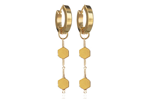 MIEL GOLD EARRINGS WITH SEMI PRECIOUS STONES & STAINLESS STEEL HOOPS