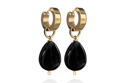 MONT SMALL  BLACK EARRINGS WITH SEMI PRECIOUS STONES & STAINLESS STEEL HOOPS