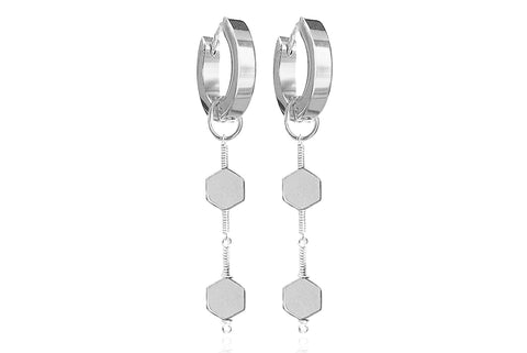MIEL SILVER EARRINGS WITH SEMI PRECIOUS STONES & STAINLESS STEEL HOOPS