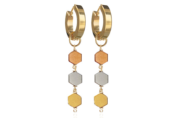 MIEL TRIPLE EARRINGS WITH SEMI PRECIOUS STONES & STAINLESS STEEL HOOPS