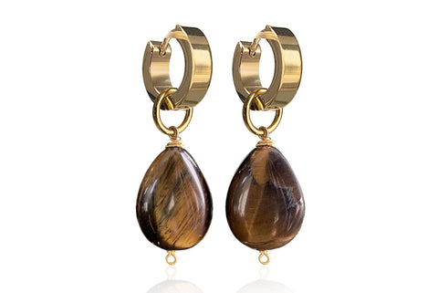MONT SMALL BROWN EARRINGS WITH SEMI PRECIOUS STONES & STAINLESS STEEL HOOPS