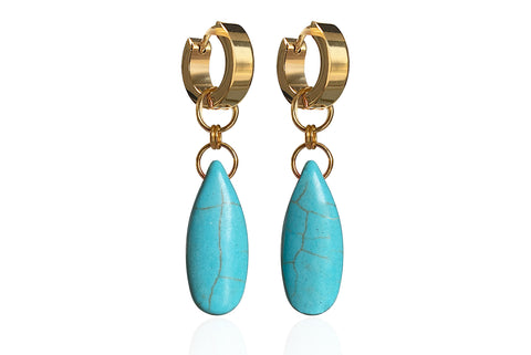 NIKI TURQUOISE EARRINGS WITH SEMI PRECIOUS STONES & STAINLESS STEEL HOOPS
