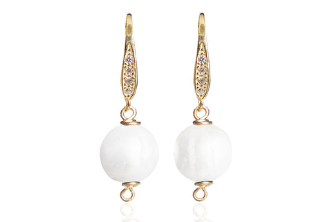 OPAL SINGLE PEARL EARRINGS WITH FRESHWATER PEARLS & SILVER 925 - CUBIC ZIRCONIA HOOKS
