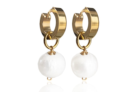 OPAL SINGLE PEARL EARRINGS WITH FRESHWATER PEARLS & STAINLESS STEEL HOOPS