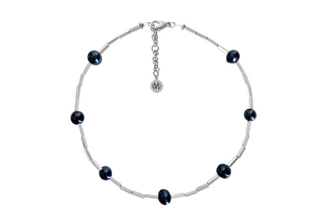OPAL SILVER - BLACK NECKLACE WITH FRESHWATER PEARLS & SEMI PRECIOUS STONES