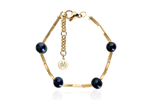 OPAL GOLD - BLACK BRACELET WITH FRESHWATER PEARLS & SEMI PRECIOUS STONES