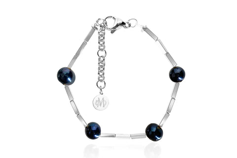 OPAL SILVER - BLACK BRACELET WITH FRESHWATER PEARLS & SEMI PRECIOUS STONES