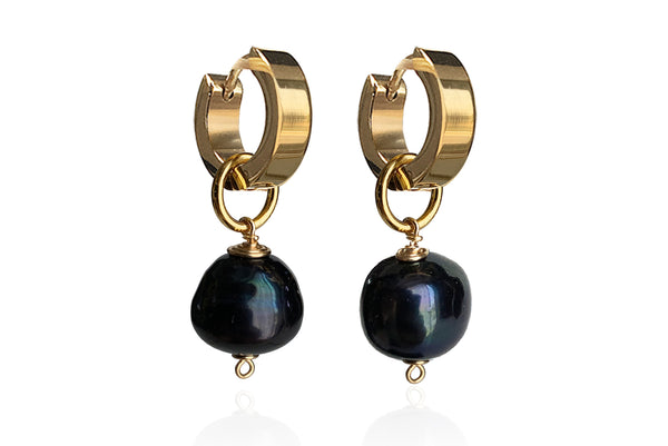 OPAL SINGLE PEARL EARRINGS WITH BLACK FRESHWATER PEARLS & STAINLESS STEEL HOOPS