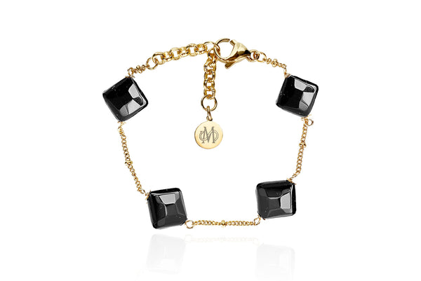 ROMV GOLD - BLACK BRACELET WITH SEMI PRECIOUS STONES & STAINLESS STEEL