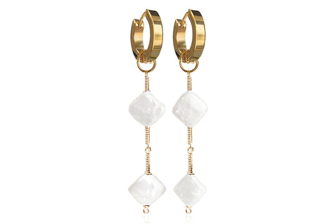 ROMV GOLD EARRINGS WITH FRESHWATER PEARLS & STAINLESS STEEL HOOPS