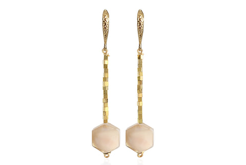 ZANIA NUDE EARRINGS WITH SEMI PRECIOUS STONES & 24K GOLD PLATED BRASS HOOKS