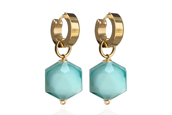 ZANIA LAKE BLUE SINGLE STONE EARRINGS WITH SEMI PRECIOUS STONES & STAINLESS STEEL HOOPS