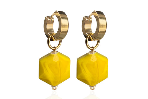 ZANIA YELLOW SINGLE STONE EARRINGS WITH SEMI PRECIOUS STONES & STAINLESS STEEL HOOPS