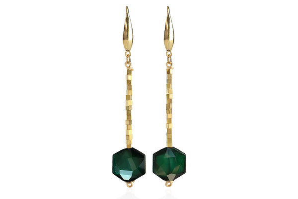 ZANIA EMERALD GREEN EARRINGS WITH SEMI PRECIOUS STONES & 24K GOLD PLATED BRASS HOOKS